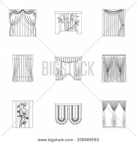 Textiles, curtains, drapes, and other  icon in outline style. Car, hand, furniture icons in set collection