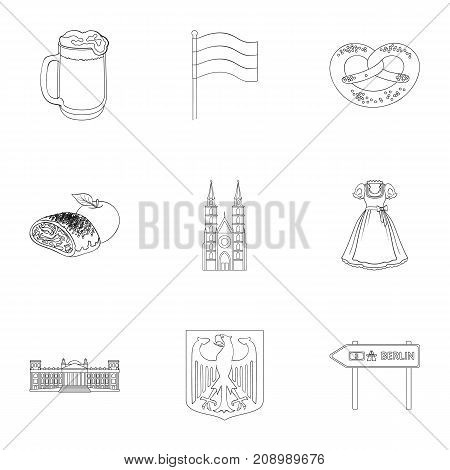 Architecture, nature, tourism and other  icon in outline style.Building, towers, attributes, icons in set collection
