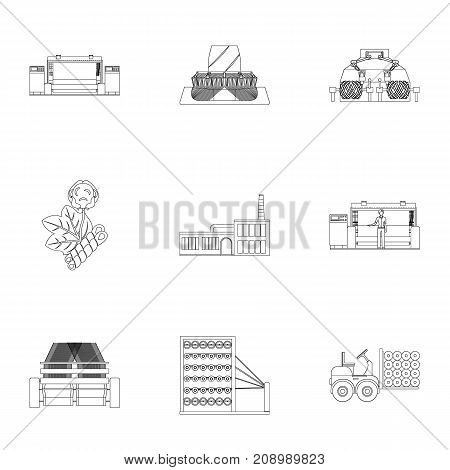 Machine, equipment, lift and other  icon in outline style. Inventory, textiles, industry icons in set collection.