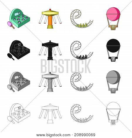 Slot machine, entertainment on the carousel, roller coaster ride, balloon. Amusement park set collection icons in cartoon black monochrome outline style vector symbol stock isometric illustration .