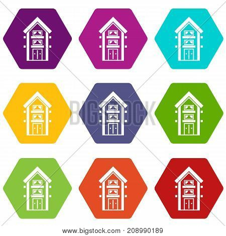 Two-storey house with balconies icon set many color hexahedron isolated on white vector illustration