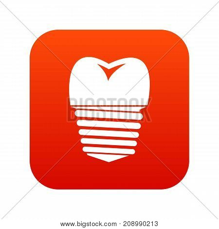 Tooth implant icon digital red for any design isolated on white vector illustration