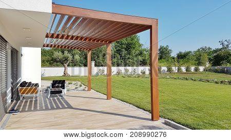 Pergola On Prefabricated Passive House