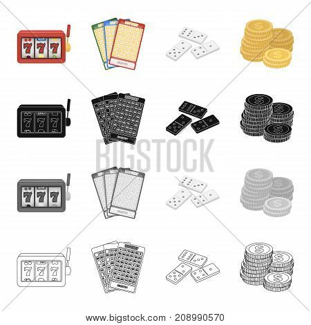 A slot machine in a casino, a lottery ticket, a domino, a pile of coins. Casino set collection icons in cartoon black monochrome outline style vector symbol stock isometric illustration .