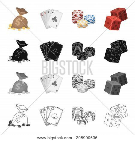 A bag of money, a deck of cards, chips in the casino, dice, cubes. Casino set collection icons in cartoon black monochrome outline style vector symbol stock isometric illustration .