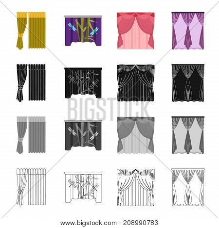Curtains, light, green, and other  icon in cartoon style. Textiles, louvers, blind icons in set collection