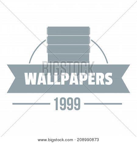 Wallpaper logo. Gray monochrome illustration of wallpaper vector logo for web