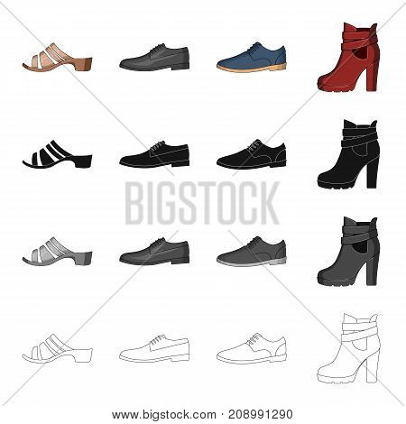 Men's and women's shoes. Different types of shoes set collection icons in cartoon black monochrome outline style vector symbol stock isometric illustration .