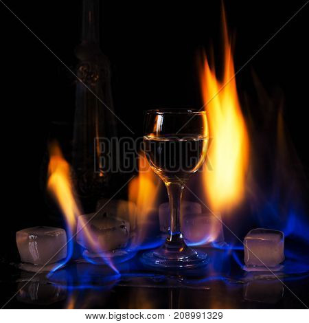 Fire On The Wine Glass, Fire On The Cocktail Glass , Vodka Ice And Fire