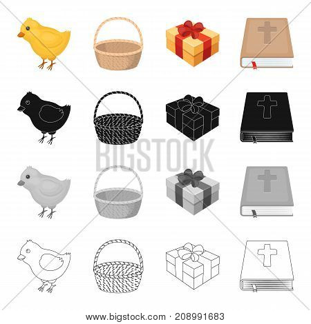 Chicken, a symbol of Easter, a basket, a gift, a book the Bible. Easter set collection icons in cartoon black monochrome outline style vector symbol stock isometric illustration .