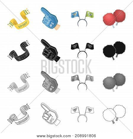 Attributes, fan, scarf, and other  icon in cartoon style.Sports, hand, pointer icons in set collection