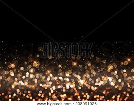 Christmas background of gold bokeh lights