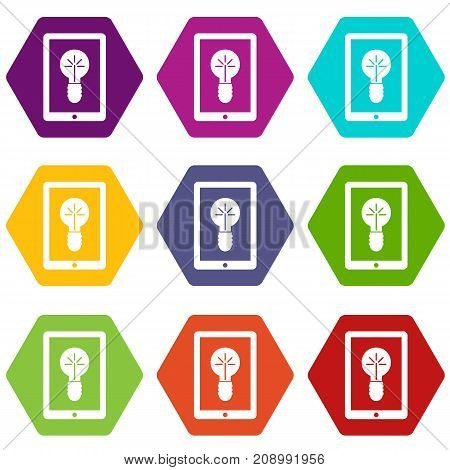 Idea lamp on gadget screen icon set many color hexahedron isolated on white vector illustration