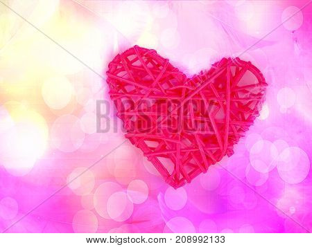 One Red Heart On A Blue Background And The Background Of Pink Feathers, Lightness And Romance For Va