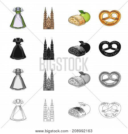 Dress, apron, blouse, and other  icon in cartoon style.Cafe, rest, textiles icons in set collection
