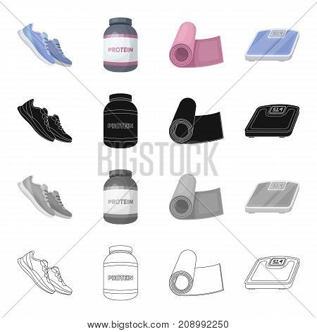 Sneakers for training, packaging with protein, gym mat, weights for weighing. Training and gym set collection icons in cartoon black monochrome outline style vector symbol stock isometric illustration .