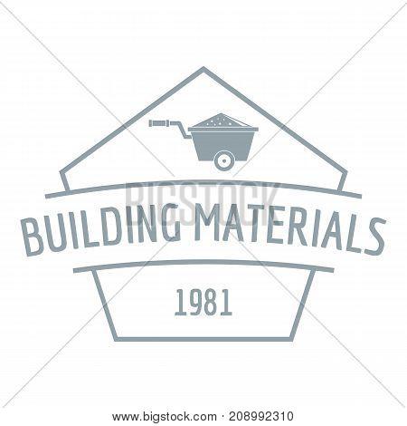 Building materials logo. Gray monochrome illustration of building materials vector logo for web