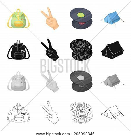 Happy, image, lifestyle, and other  icon in cartoon style.Backpack, handles, pocket icons in set collection