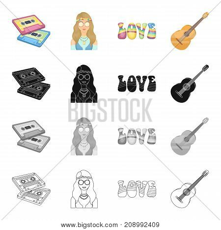 Happy, glasses, bandage and other  icon in cartoon style.Cassette, recording, melody, icons in set collection