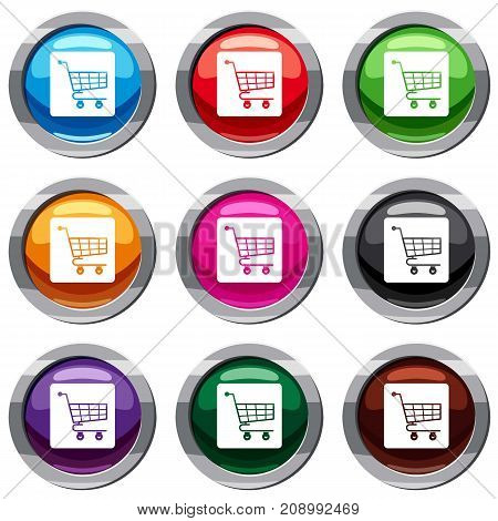 Shopping cart set icon isolated on white. 9 icon collection vector illustration