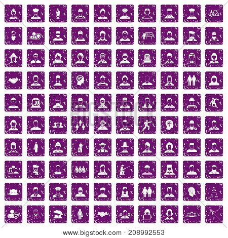 100 people icons set in grunge style purple color isolated on white background vector illustration
