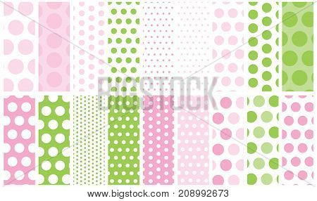 18 Polka Dots Vector Patterns. Go polka dot crazy with a collection of dots from mini to jumbo with global colors for easy color changes.