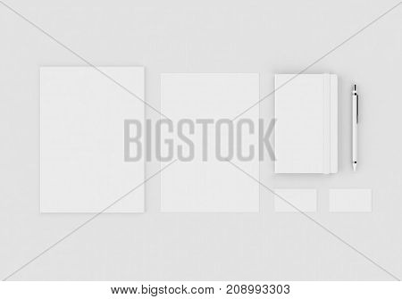 White stationery mock-up template for branding identity on gray background for graphic designers presentations and portfolios. 3D rendering.