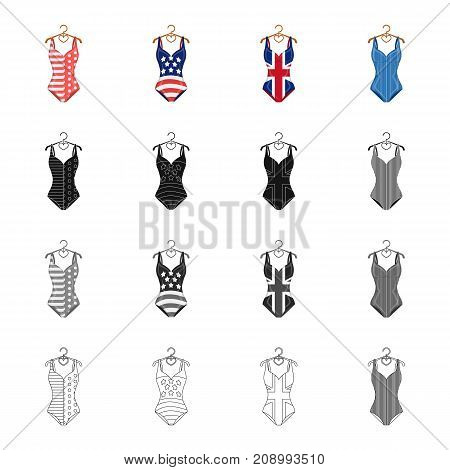 Fashionable women's swimsuit. Different kinds of swimsuits set collection icons in cartoon black monochrome outline style vector symbol stock illustration .