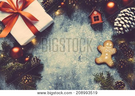 Christmas Vintage Background, Gift Box With Red Ribbon, Fir Branches,toys,decoration,pine Cone, Stri