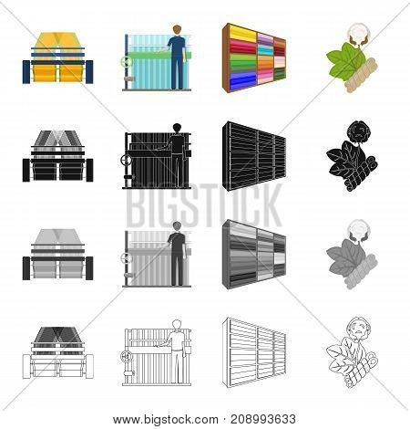 Machine, equipment, textile, and other  icon in cartoon style.Bench, tool, installation icons in set collection