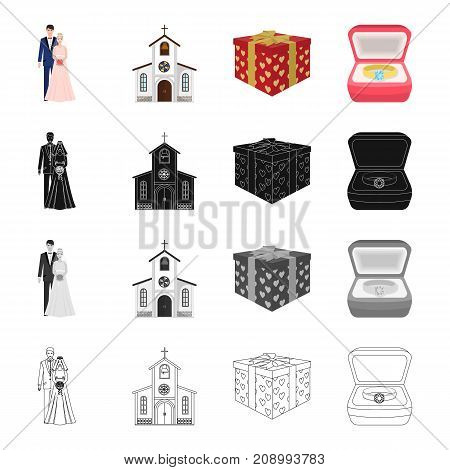A married couple, a church, a wedding gift, an engagement ring. Wedding set collection icons in cartoon black monochrome outline style vector symbol stock isometric illustration .