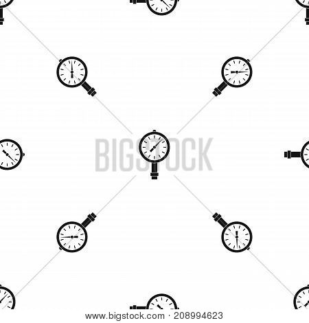 Manometer or pressure gauge pattern repeat seamless in black color for any design. Vector geometric illustration