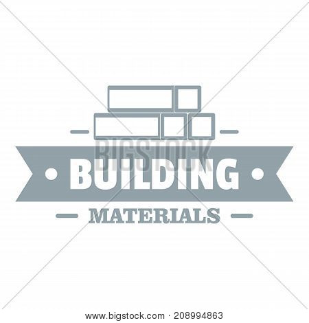 Construction materials logo. Gray monochrome illustration of construction materials vector logo for web