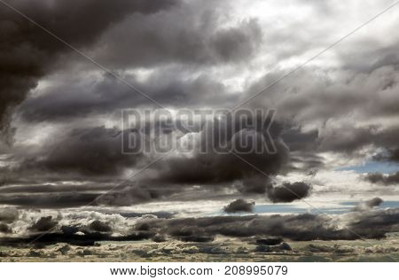 Dark gray clouds in cloudy weather. the photo