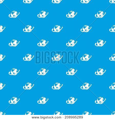Airplane fly around the planet pattern repeat seamless in blue color for any design. Vector geometric illustration