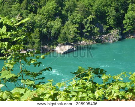 Teal Water of the Niagara River at Devil's Hole State Park