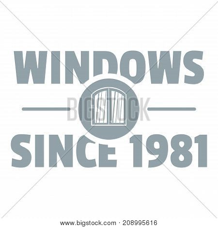 Window logo. Gray monochrome illustration of window vector logo for web