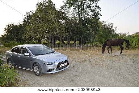 Due To Human Movement. Car And Horse. Iron Horse And Ordinary. Symbolism Sredst Transport.