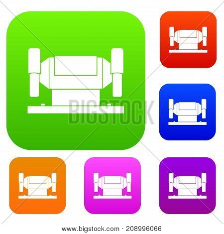 Metalworking machine set icon color in flat style isolated on white. Collection sings vector illustration