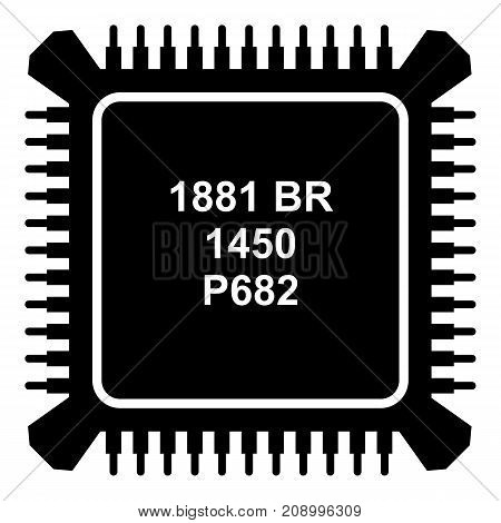 Processor microchip icon. Simple illustration of processor microchip vector icon for web