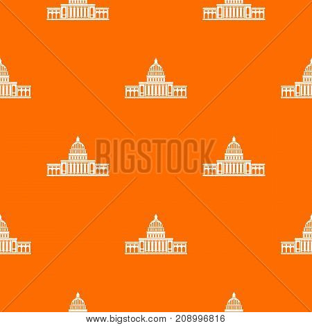 White house pattern repeat seamless in orange color for any design. Vector geometric illustration