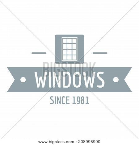 Window company logo. Gray monochrome illustration of Window company vector logo for web