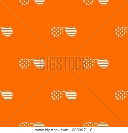 American glasses pattern repeat seamless in orange color for any design. Vector geometric illustration