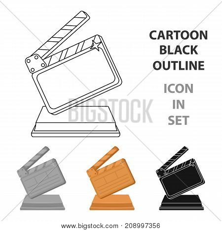 Gold clapperboard on stand.Award for best Director.Movie awards single icon in cartoon style vector symbol stock web illustration.