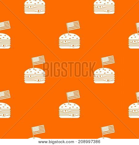 Hamburger pattern repeat seamless in orange color for any design. Vector geometric illustration