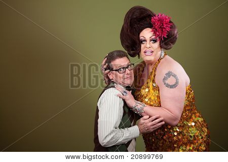 Uncomfortable Nerd With Large Woman