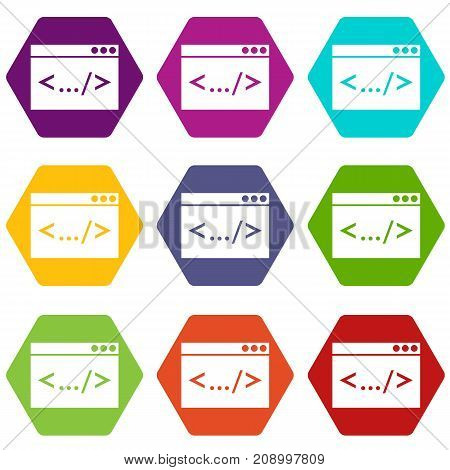 Code window icon set many color hexahedron isolated on white vector illustration