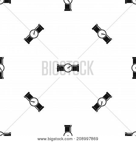 Instrument measures the pressure in the pipe pattern repeat seamless in black color for any design. Vector geometric illustration