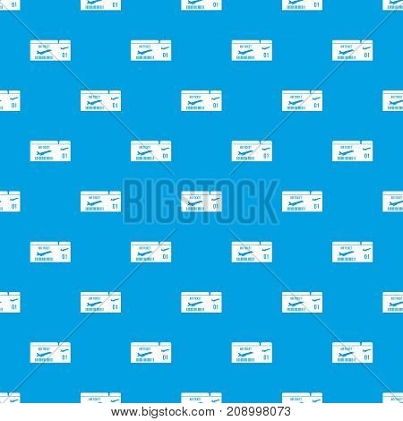 Airline boarding pass pattern repeat seamless in blue color for any design. Vector geometric illustration