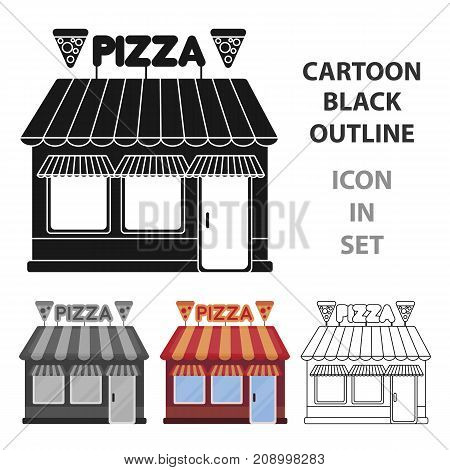Pizzeria icon in cartoon style isolated on white background. Pizza and pizzeria symbol vector illustration.